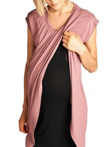 Pink Solid Wrap U-neck Short Sleeve Breast-feeding Maternity Dress