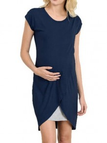 Navy Solid Wrap U-neck Short Sleeve Breast-feeding Maternity Dress