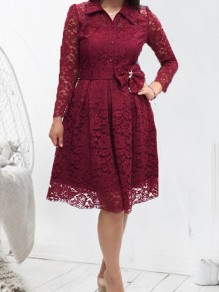 Wine Red Patchwork Lace Bow Buttons Elegant Midi Dress