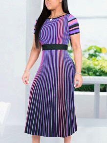 Purple Striped Pleated Elegant Party Maxi Dress