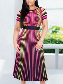 Rose Carmine Striped Pleated Elegant Party Maxi Dress