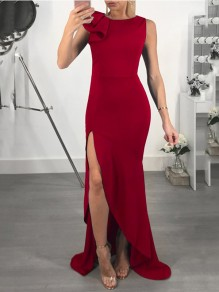 Red Ruffle Side Slits High-Low Bodycon Mermaid Elegant Prom Evening Party Maxi Dress