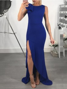 Blue Ruffle Side Slits High-Low Bodycon Mermaid Elegant Prom Evening Party Maxi Dress
