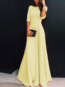 Yellow Chiffon Draped Zipper Round Neck Three Quarter Length Sleeve Elegant Maxi Dress