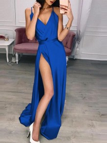 Sapphire Blue Wrap Spaghetti Strap Side Split V-neck Cocktail Party Maxi Dress