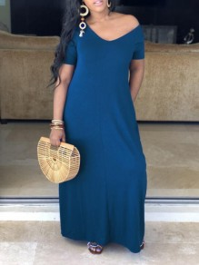 Blue Pockets Off Shoulder Half Sleeve Oversized Casual Maxi Dress