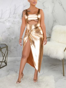 Golden Cut Out Spaghetti Strap Irregular Two Piece PU Leather Party Maxi Dress