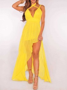 Yellow Spaghetti Strap Pleated Thigh High Side Slits V-neck Bohemian Beachwear Maxi Dress