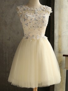 Champagne Patchwork Grenadine Lace Rhinestone Backless Lace-up Round Neck Sleeveless Elegant Mini Dress