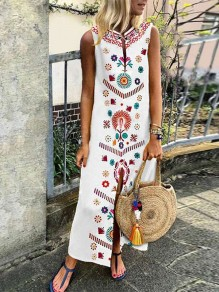 White Floral Print Draped Slit Irregular V-neck Sleeveless Bohemian Maxi Dress