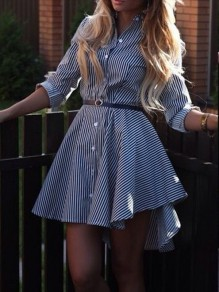 Navy Blue Striped Single Breasted Swallowtail Irregular Belt Pleated Turndown Collar Long Sleeve Elegant Blouse Midi Dress
