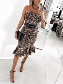 Brown Leopard Bandeau Ruffle Off Shoulder Backless Mermaid Elegant Party Midi Dress
