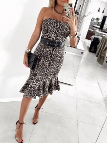 Grey Leopard Bandeau Ruffle Off Shoulder Backless Mermaid Elegant Party Midi Dress