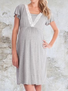 Light Grey Patchwork Lace Draped Maternity and Lactant Women Short Sleeve Maternity Dress