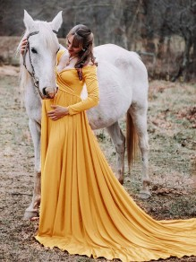Yellow Pleated Off Shoulder Long Sleeve Maternity Dress For Babyshower