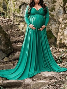 Green Pleated Off Shoulder Long Sleeve Baby shower Maternity Maxi Dress