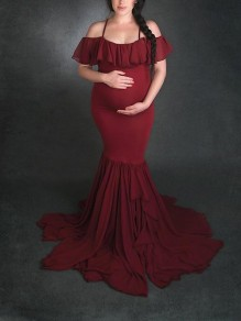 Wine Red Chiffon Cascading Ruffle Condole Belt Pleated Draped Mermaid V-neck Short Sleeve Elegant Maternity Dress