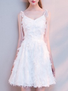 White Feather V-neck Spaghetti Strap Sleeveless Homecoming Party Mini Dress