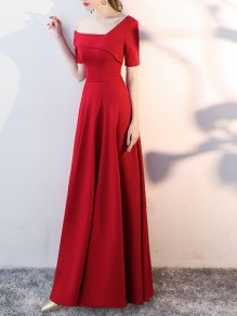 Red Asymmetric Shoulder Short Sleeve Prom Evening Party Bridesmaid Maxi Dress
