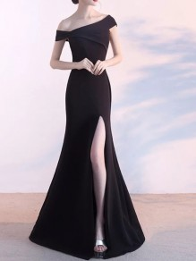 Black Asymmetric Shoulder Sleeveless Thigh High Side Slits Prom Evening Party Bridesmaid Maxi Dress