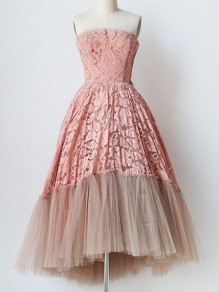 Pink Patchwork Lace Grenadine Bandeau High-Low Elegant Tulle Tutu Midi Dress