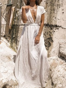 White Tie Back Deep V-neck Beachwear Cover-Up Bohemian Maxi Dress