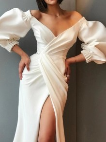 White Wrap Elbow Puff Sleeve Deep V-neck High Side Slits Reception Cocktail Party Maxi Dress
