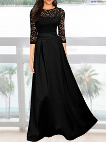 Black Patchwork Lace Draped Round Neck Homecoming Party Maxi Dress