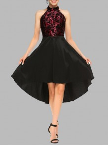 Burgundy Lace Irregular High-Low Halter Neck Sleeveless Cocktail Party Elegant Midi Dress