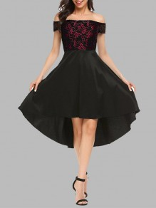 Burgundy Lace Irregular High-Low Off Shoulder Short Sleeve Cocktail Party Elegant Midi Dress
