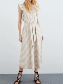 Beige Plaid Ruffle Sashes Single Breasted V-neck Fashion Maxi Dress