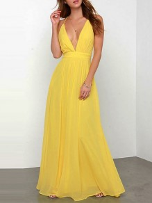 Yellow Patchwork Condole Belt Plunging Neckline Formal Bridesmaid Cocktail Party Maxi Dress