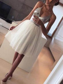 Silver Patchwork Grenadine Sequin Spaghetti Strap Backless Skater Tutu Homecoming Party Midi Dress