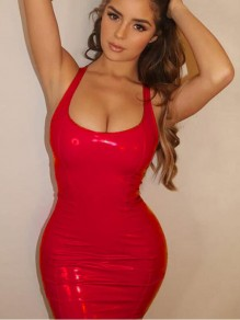Red Deep V-neck Sleeveless PU Leather Backless Bodycon Latex Rubber Mini Dress