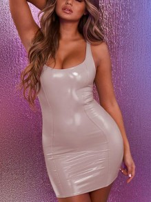 Light Apricot Deep V-neck Sleeveless PU Leather Backless Bodycon Latex Rubber Mini Dress