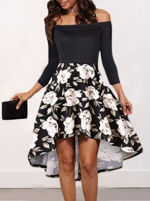 Black-White Floral Swallowtail Pleated Irregular Backless Boat Neck Three Quarter Length Sleeve Elegant Midi Dress