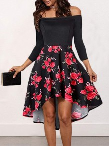 Red-White Floral Swallowtail Pleated Irregular Backless Boat Neck Three Quarter Length Sleeve Elegant Midi Dress