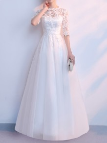 White Patchwork Lace Pleated Tulle Tutu Elegant Wedding Guest Gowns Maxi Dress