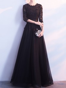 Black Patchwork Lace Draped Tulle Tutu Elegant Maxi Dress