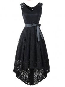 Black Patchwork Lace Irregular Bow Sleeveless Party Maxi Dress