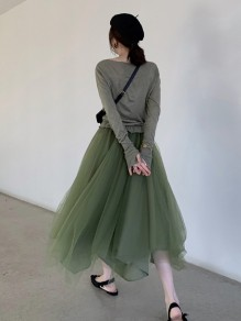 Green Patchwork Grenadine Round Neck Long Sleeve Fluffy Puffy Tulle Maxi Dress