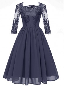 Navy Blue Embroidery Round Neck 3/4 Sleeve Elegant Chiffon Midi Dress