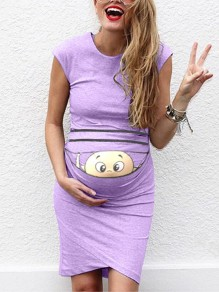 Purple Baby Print Round Neck Fashion Maternity Dress