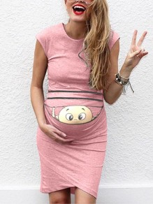 Pink Baby Print Round Neck Fashion Maternity Dress