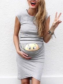 Grey Baby Print Round Neck Fashion Maternity Dress
