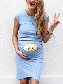 Sky Blue Baby Print Round Neck Fashion Maternity Dress
