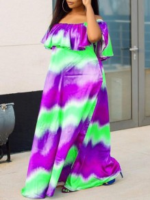 Purple Tie Dyeing Off Shoulder Ruffle Pockets Casual Maxi Dress