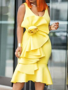 Yellow Cascading Ruffle Bodycon Mermaid Prom Evening Party Maxi Dress