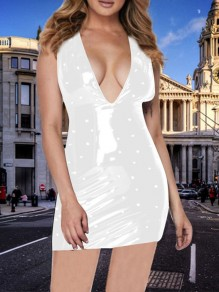 White Pearl Deep V-neck PU Leather Latex Bubble Vinly Patent Party Clubwear Mini Dress