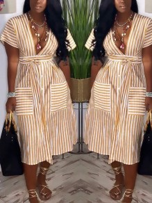 Yellow Striped Belt Pockets Deep V-neck Casual Maxi Dress